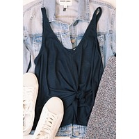 Rib Knit Tank, Blue Night