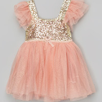 Light Coral Glitter Dress - Infant, Toddler & Girls | zulily