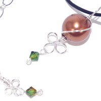 Copper brown green Swarovski crystal pearl charm black leather cord necklace, Silver plated adjustable, Wire wrap pendant clover leaf choker