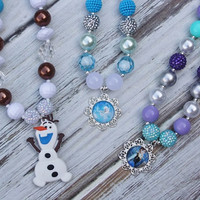 Elsa Necklace inspired-Frozen Elsa Necklace-Olaf Necklace- Anna Necklace- Olaf- Elsa Dress- Frozen Snowflake Necklace- Elsa costume | From Bows To Toes