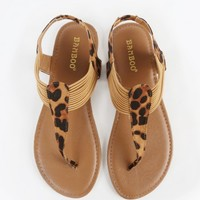 Bamboo Sequoia-81 Leopard Thong Sandals | MakeMeChic.com