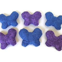 Butterfly Bean Bags Shaped Deep Purple Bright Blue Girl's Toy Party Favor (set of 6) - US Shipping Included