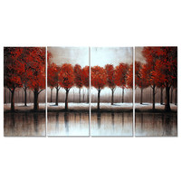 Red Tree Woodland Landscape Canvas Wall Art Oil Painting