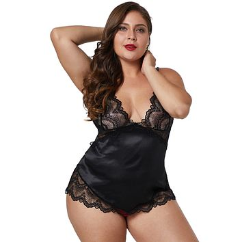 Chic Black Lace Cups Silky Satin Sexy Plus Size Chemise