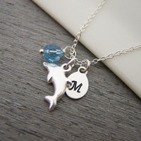 Dolphin Swarovski Birthstone Initial Personalized Sterling Silver Necklace / Gift for Her