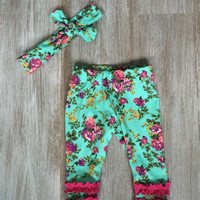Newborn baby take home outfit floral on aqua with fuchsia ruffles on bottom & headband. Pictures outfit! Purple. Coral. Green.