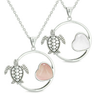 Amulets Cute Sea Turtles Love Couples or Best Friends Pink and White Cats Pendant Necklaces