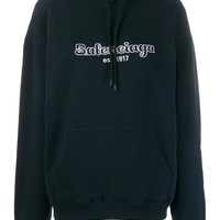Ladies Navy Pulled Hoodie by Balenciaga
