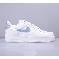Nike Air Force 1 New fashion laser hook couple shoes White