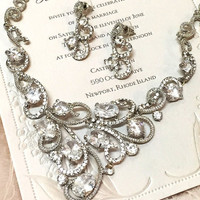 Wedding Necklace set, bridal jewelry set, crystal jewelry, crystal bridesmaid gift, Cubic zerconia necklace earrings set,