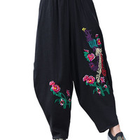 Phoenix Embroidery Linen Yoga Pants