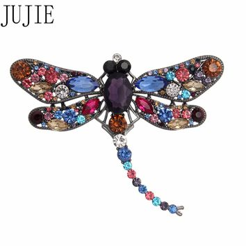 JUJIE Vintage Crystal Dragonfly Brooches For Women 2018 Clothing Scarf Brooch Pins Animal Corsage Jewelry Dropshipping