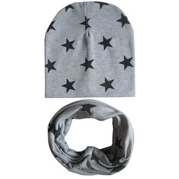 1Set Autumn Winter Cotton Baby Cap Scarf Children Scarf-collar Boys Girls Warm Beanies Hats Star Print Kids Hat