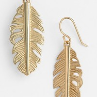 Women's Melinda Maria Feather Drop Earrings - Gold