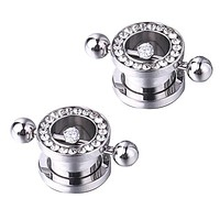 BodyJ4You 2 Pieces Ear Gauges Screw Fit Tunnels Stainless Steel CZ Jeweled Ear Plug with Barbell 0G-12mm