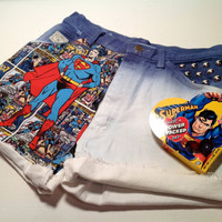 Vtg High Waisted Dip Dyed Denim Bleached Studded made with Superman Superhero Fabric Hipster Shorts YOUR SIZE