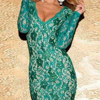 Green Lace Deep V Backless Bodycon Dress