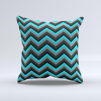 Turquoise-Black-Gray Chevron Pattern  Ink-Fuzed Decorative Throw Pillow