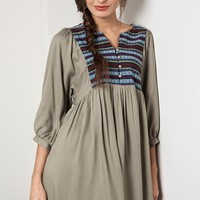 Umgee Olive Green Embroidered Panel Peasant Dress Tunic