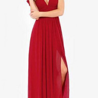 Red Chiffon Off-Shoulder Feature Maxi Dress with Slit