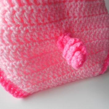 Pig Photo Prop Crochet Baby Diaper Cover - Pink and Dark Pink