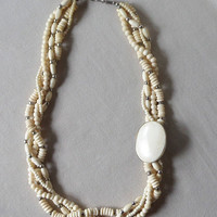 Bohemian Multi Strand Necklace, Beach Tribal Bone Necklace,  Asymmetrical with Off Center Festoon