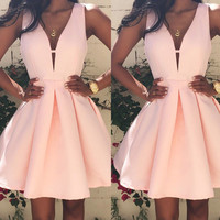 Summer Short Mini Bridesmaid Homecoming Ball Gown Grad Prom Sleeveless V-Neck Dresses