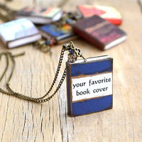 Custom book jewelry Custom book necklace Book charm necklace Custom book pendant  Gift for reader Bookish gift Book lovers gift Mini books