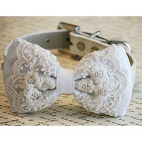 White Lace Dog Bow Tie, Pet wedding, Lace wedding, White Wedding , Wedding dog collar