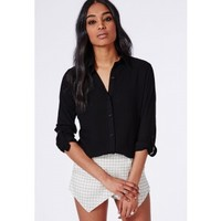 Rolled Sleeve Muslin Shirt Black - Tops - Shirts & Blouses - Missguided