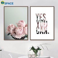 Peony Flower Inspire Quotes Wall Art Canvas Painting Nordic Poster Wall Pictures For Living Room Bedroom Pop Art Quadro Decor