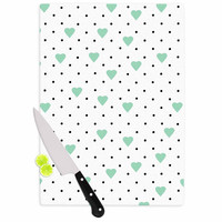 """Project M """"Pin Point Polka Dot Mint"""" Green White Cutting Board"""