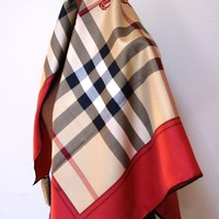 AUTHENTIC Burberry Horseferry Beige Check Red Silk Square Scarf