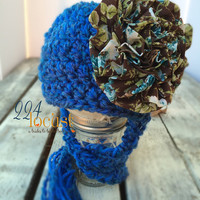 Baby Hat size 0-12 mos, Blue Baby Hat, Flower Hat, Fanciful Fall 2015 Collection, Baby Hat, Newborn Pictures, Photo Prop, Photography Prop