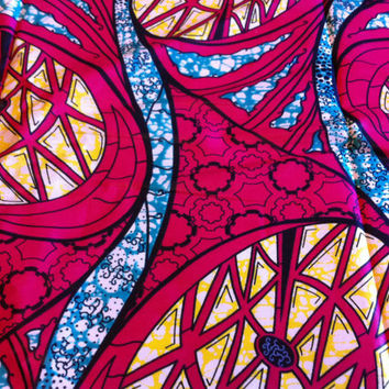 African Wax Print Fabric by the HALF YARD.  Wheels and Gears in yellow, turquoise and hot pink.