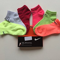 Nike Girls 6 Pairs/Pack Low Cut Socks, 9C-13C, Multicolored(Flo Pink)