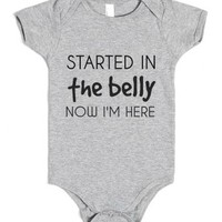 Started In The Belly-Unisex Heather Grey Baby Onesuit 00