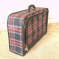 Small Red Plaid Luggage, 1960s Plaid Carry On Luggage, Lightweight Overnight Suitcase