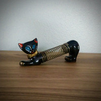1950s Shafford redware black cat letter holder, pencil holder, red ware office, vintage office, Japanese cat, yellow bowtie