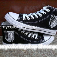 Attack on Titan Shoes hand painted Attack on Titan Custom On Lacal Brand Shoes 44.99USD, Paint On Custom Converse Shoes Only 79.99Usd