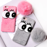 For iPhone 6s Case Cute Big eyes Rabbit Hair Fur Case for iPhone 6 7 Winter Warm Plush Soft Ball Cover for iPhone 6 7 Plus Coque