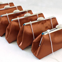 Set of Six Copper and Teal Bridesmaid Gift Clutches 5% Off