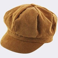 Newsboy Corduroy Hat - Brown
