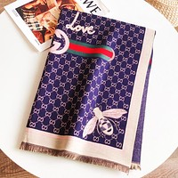 GUCCI New fashion bee more letter scarf women Blue
