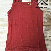 Kids Maroon Solid Tank with Crochet Lace