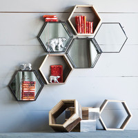 Reclaimed Hexagon Shelves - Set of 3