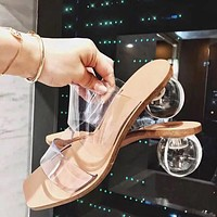 Crystal Ball Low Heel Transparent Clear Slippers Women Peep Toe Sandals Fashion New Design Slippers Outdoor