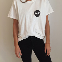 Alien pocket Tshirt Fashion funny tumblr womens girls sassy cute gifts tops teens teenager