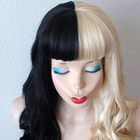 Blonde/Black wig. Half Blonde Half Black wig. Long curly blonde and black hair  wig. Black Blonde side by side wig.