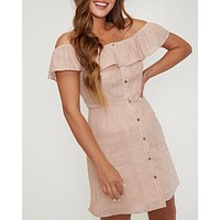 Off The Shoulder Button Down Woven Mini Dress in Peach